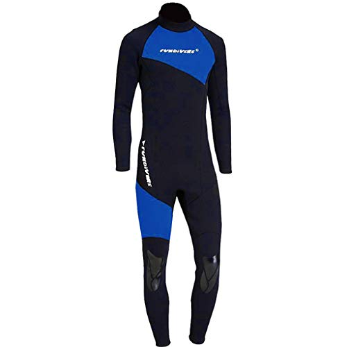 HomeDecTime Traje de Piel de Buceo Neopren de 1,5 Mm para Hombre, con Protección UV, Esnórquel, Mono de Surf para Adultos - Azul l