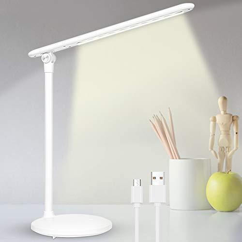 LED Schreibtischlampe, LED Tischlampe Tischleuchte mit USB-Anschluss, 3 Farb Dimmbar Tragbar LED Schreibtischlampe mit Touchbedienung, Memory Funktion, Augenschutz
