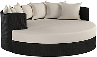 TK Classics Beige Newport Circular Sun Bed Outdoor Wicker Patio Furniture