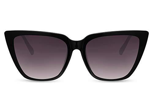 Cheapass Gafas de sol Sunglasses Wide Ojo de Gato Trendy Estilo negro para mujer con lentes oscuros Patillas con brillo de Metálicas negro con protección UV400