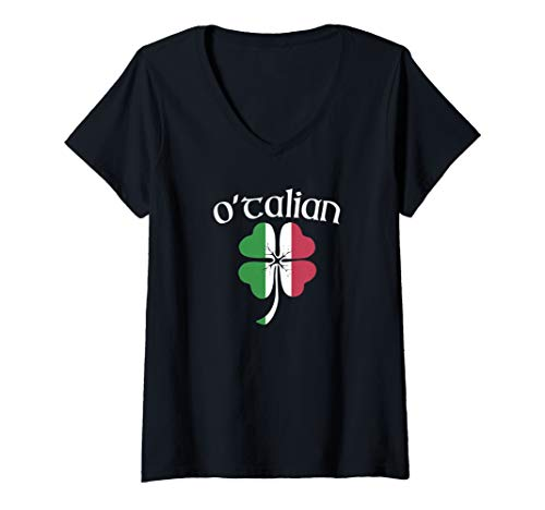 Womens O'TALIAN Funny Italian Irish St. Patrick's Day Shamrock Flag V-Neck T-Shirt