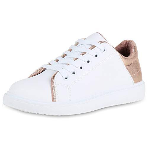 SCARPE VITA Damen Sneaker Low Leder-Optik Turnschuhe Schnürer Freizeit Schuhe 176561 Weiss Rose Gold 37