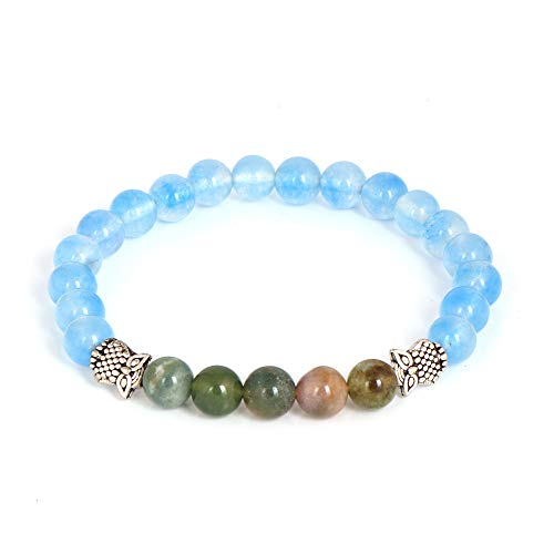 Blue Jade and Green Agate 8mm Round Beads Natural Gemstone Stretch Bracelet 7 Inch Gift For Her