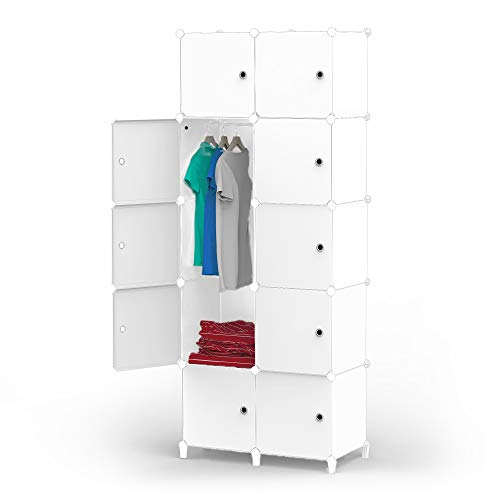 HOMIDEC Portable Wardrobe 10 Cube Closet with Clothes Hanging Rod, Combination Armoire Modular Cabinet Space Saving Storage Organizer Unit for Bedroom Clothes Shoes Toys Books Towels White