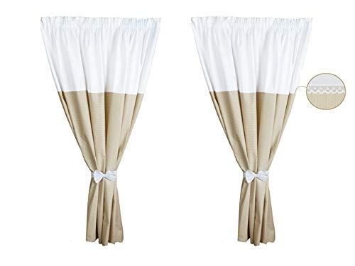 Vizaro - Gordijnen voor kinder- / babykamer (155x155cm) (2 stuks + 2 linten) - 100% KATOEN - TOP KWALITEIT gemaakt in de EU, OekoTex gecertificeerd - C. Borduurwerk beige lijnen