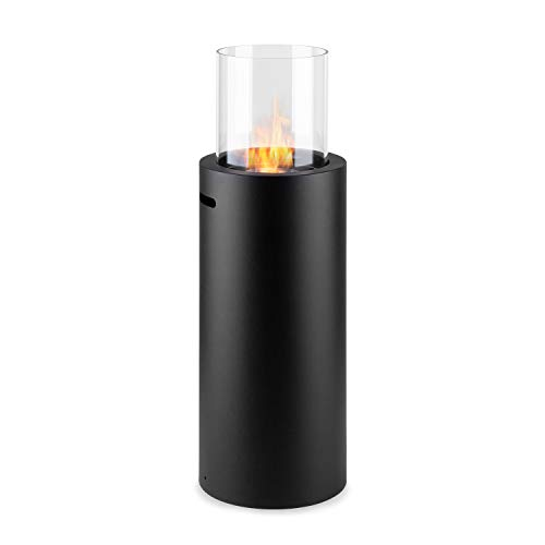 KLARSTEIN Phantasma Skyfire Chimenea de etanol, Chimenea Vertical, Quemador de Seguridad con 0,3 L, 2 Horas de duración, Asistente de Apagado, sin olores, Vidrio de Seguridad, Negro