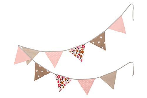 ULLENBOOM ® slinger met vlaggetjes l stoffen slinger: 3,25 m, 3 vlaggetjes l decoratie kinderkamers en babyverjaardagen I zand eekhoorntjes