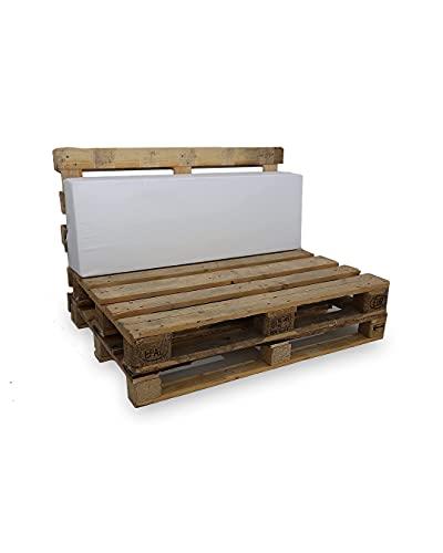 Respaldo de Espuma para Sofá Palet - Microfibra Color Blanco - Densidad es D20 Suave-Blanda (Dimensiones 120x40x20x15 cms) - Ideales para Interior y Exterior, Chill out, terrazas, Piscinas.