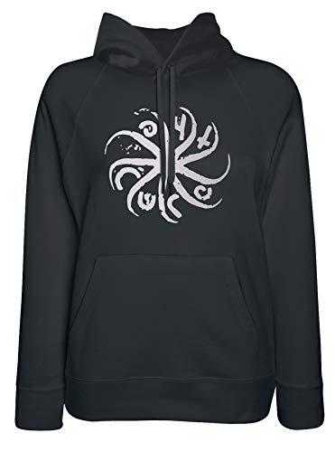 LaMAGLIERIA Damen-Hoodie The Cure Circular Logo White Print - Kapuzenpullover Indie Rock Band, X-Large, Schwarz
