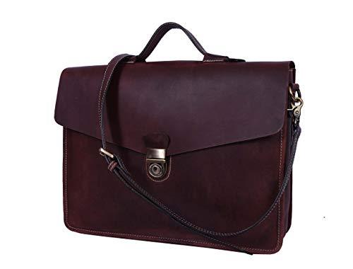 """15"""" Leather Messenger Bag for Laptop Briefcase Portfolio Office Bag Brown (Walnut)"""