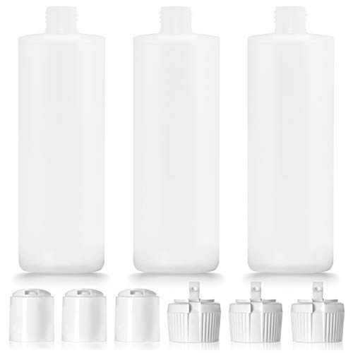 3 Pack 16oz Plastic Bottle with 6 Caps in 2 Styles - BPA Free Latex-Free, Food-Grade, Great for Shampoo, Body Wash, Sauce and More