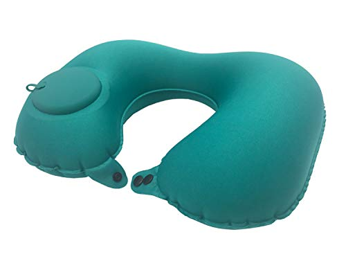 Inflatable Travel Neck Pillow Air Pump Comfortable U-Shape Headrest Support with Compression Bag for Office Train Car Airplane Sleep Cushion