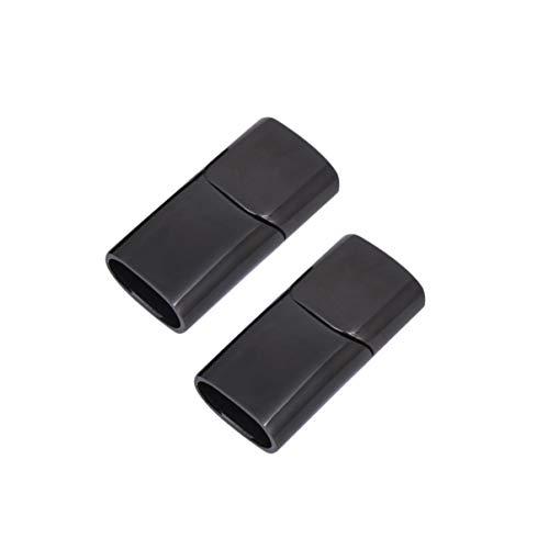 Healifty - 2 cierres magnéticos de acero inoxidable para cordón de piel, pulsera de fabricación de joyas de plata Negro