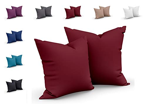one-home 2er Set Mikrofaser Kissenbezug Kissenhülle Kopfkissen Hülle Uni, Maße:40 x 40 cm, Farbe:Bordeaux/Rot