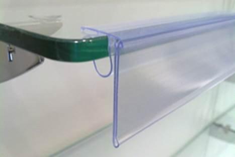 Pack de 25 portaprecios a 1 metro para etiquetas de 39mm. Para estantes de cristal.
