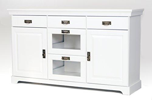 clever-moebel Sideboard, Kommode aus Kiefernholz weiß lackiert, Schrank, Anrichte