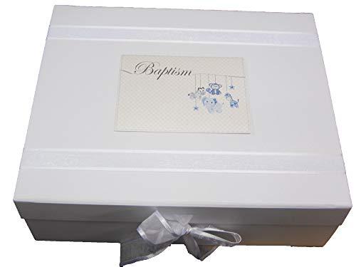 White Cotton Cards HTBB2X Boîte à souvenirs pour bébé Motif Baptême Bleu
