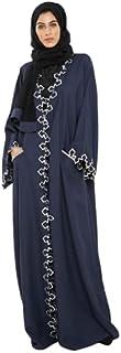 Nukhbaa Womens Abaya Sleeve Length Kimono Ethnic Wear, Color: Black, Size: S