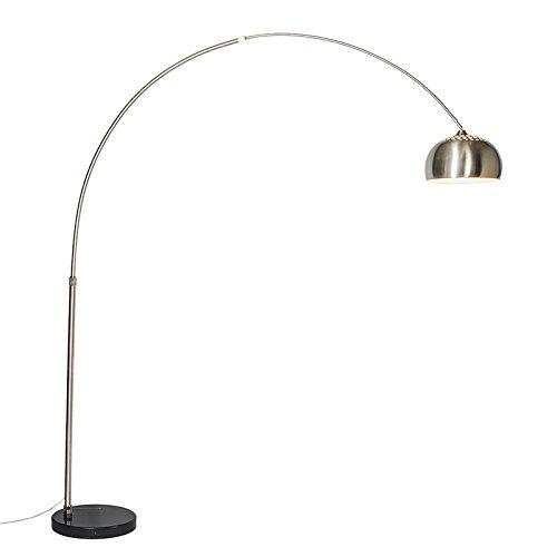 QAZQA - Modern Bogenlampe Stahl | Silber | nickel matt Metallschirm 33 cm - XXL - Stahl Länglich - LED geeignet E27