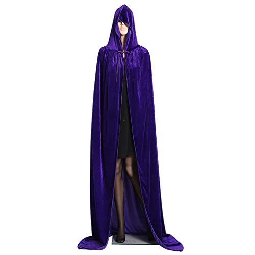 VONKY Costumes Halloween com capuz casaco longo de veludo Cabo Halloween Cosplay Mulheres Homens Witch longa capa length150cm roxo