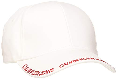 Calvin Klein Jeans Damen Ckj Visor Logo W Baseball Cap, Weiß (Bright White Yaf), One Size (Herstellergröße: OS)