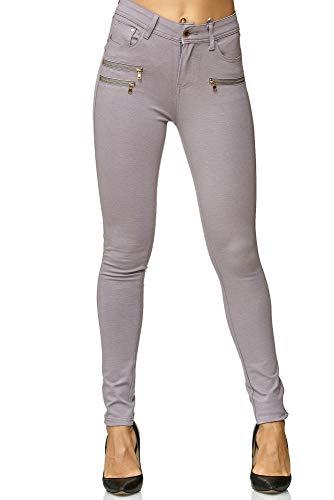 Elara Elara Damen Stretch Hose Skinny Fit Jegging Chunkyrayan H86-26 Lt.Grey 36 (S)