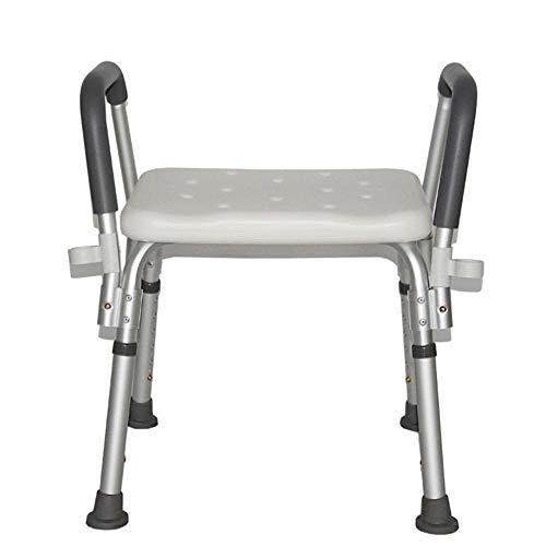 Sgabello da doccia, con manico imbottitura antiscivolo sedia da doccia sgabello sedile per anziani, sgabello da bagno in alluminio sedia da doccia per anziani, con ventosa antiscivolo