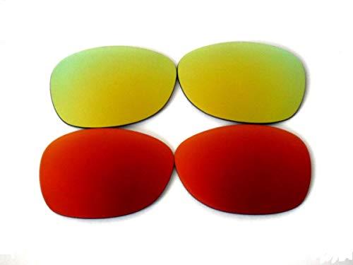 GALAXYLENSE Lentes de reemplazo para gafas de sol de Ray-Ban RB2132 Wayfarer para hombre o mujer 55x1.5x38 Regular Oro Rojo