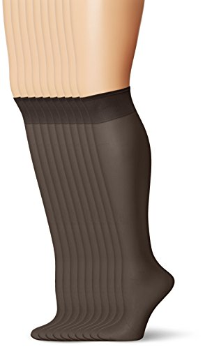 L'eggs Women's Everyday Knee Highs , Off Black, One Size, 10 Pair