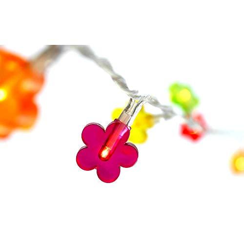 HAB & GUT -L007- LED-Lichterkette Bunte Blümchen 40 LED-Birnchen, 5 Meter Kabel, Indoor Dekolicht, 220 V Flowers Blumen