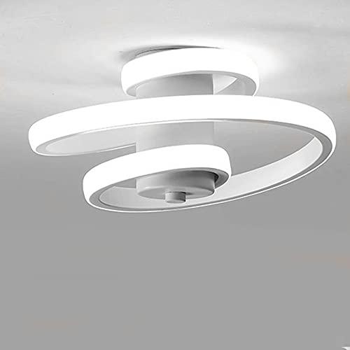 Lámpara de Techo LED Espiral Estilo Nórdico Moderno Blanco Negro Pequeño Luz de Techo para Entrada Pasillo Cocina Luminarias Techos Sala de Estar Luz Blanca Fria 18W Blanco