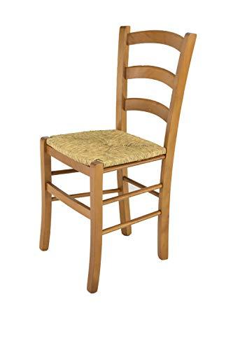 Tommychairs - Silla Venice para cocina y comedor, estructura en madera de haya color roble y asiento en paja