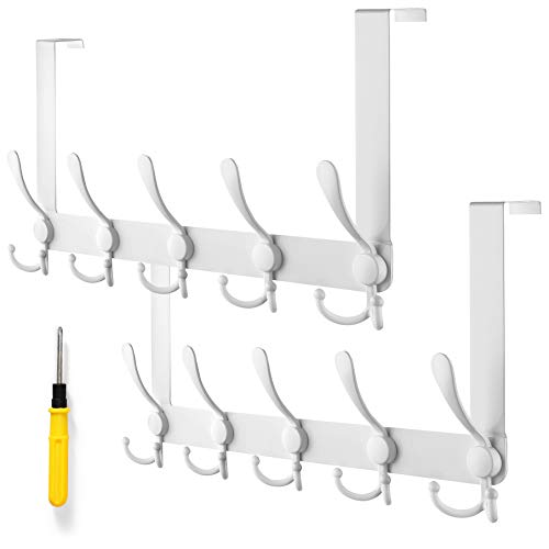 VASGOR 2Pcs Over The Door Hooks for Clothes - 5 Tri Hook Coat Hanger Rack for Bedroom, Closet, and Bathroom, Behind Back of Door - Great Organizer Hooks for Coats, Hats, Robes, Towels (White)