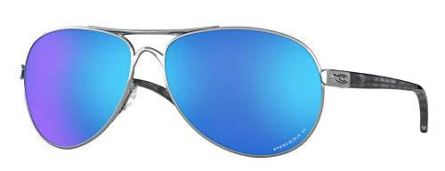 Oakley Feedback OO4079 407933 59M Polished Chrome/Prizm Sapphire Sunglasses +BUNDLE with Oakley Accessory Leash Kit