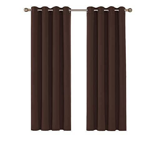 Deconovo Opaca Cortina Térmica Aislante y Ruido Reducción con Ojales 2 Piezas 117 x 183 cm Chocolate