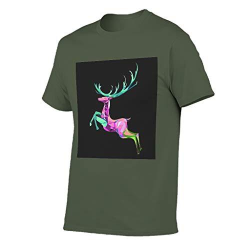 Camiseta de manga corta para hombre, diseño de ciervo Sika azul marino XXXL