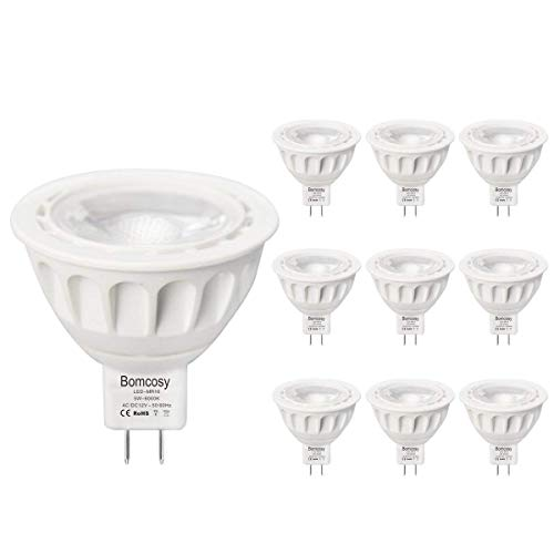 Bombillas LED GU5.3, Bomcosy MR16 LED 5W Lámparas Halógenas Equivalentes a 50W, LED 12v MR16, Blanco Cálido 3000K, Bombillas led 500LM, LED GU5.3 36°Luz, 10 Pack