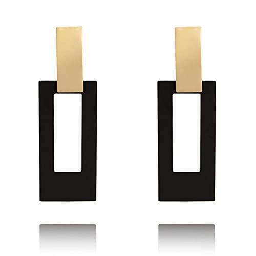 Mode Platz Kronleuchter Koreanische Ohrringe Frauen Geometrische Hohl Gold Schwarz Ohrringe Hochzeit 2021 TINGG (Color : Gold)