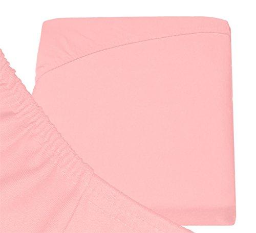 Double Jersey – Spannbettlaken 100% Baumwolle Jersey-Stretch bettlaken, Ultra Weich und Bügelfrei mit bis zu 30cm Stehghöhe, 160x200x30 Rosa - 6
