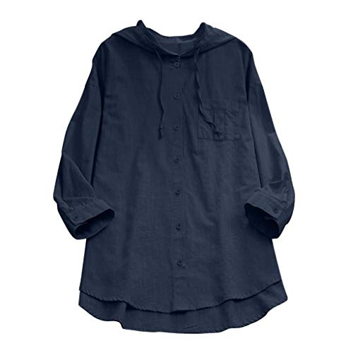 Ladies Women Summer Sleeve Short Casual Loose T Shirt Cotton Special Style Linen Blouse for Mother S Day (Color : B1-Marineblau, One Size : Eu-36/Cn-S)
