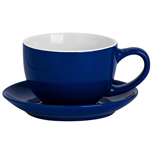 Argon Tableware Color cappuccino y platillo Set - Estilo Moderno té de la porcelana y la taza - 250ml - Armada