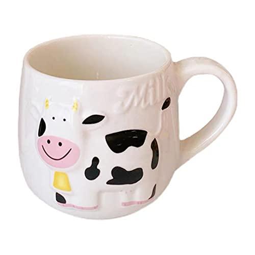 WANZPITS Taza de cerámica de Vaca de Dibujos Animados, Taza de té de café 414ml Tazas de Taza de té Regalos Personalizados para niños Hombres Hombres,Blanco