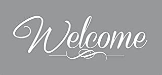 """Wall Decor Plus More WDPM3915 Welcome Sticker for Front Door Modern Wall Art Vinyl Decals, 15 x 5"""", White"""