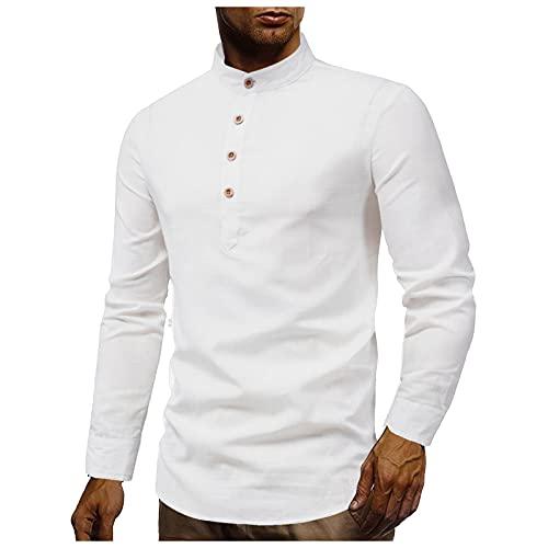 EVAEVA Camisa de Manga Larga Blusa con Cuello Alto de Color Sólido Camisas de Algodón y Lino Blusas de Moda Casual Tops para Hombre Casual Transpirable Shirt para Trabajo a Diario Otoño Al Aire Libre