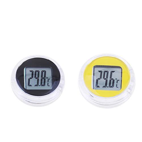 perfeclan 2 Stücke Schwarz + Gelb Temperaturanzeige Betriebsstoffe Öle Getriebeöle Oil Temp Temperaturanzeige Universal- Fit -Meter -Auto