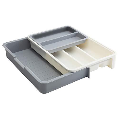 Decorus Besteckkasten Schublade, vielseitiger größenverstellbarer 7 Fächer BPA-freier Schubladeneinsätze