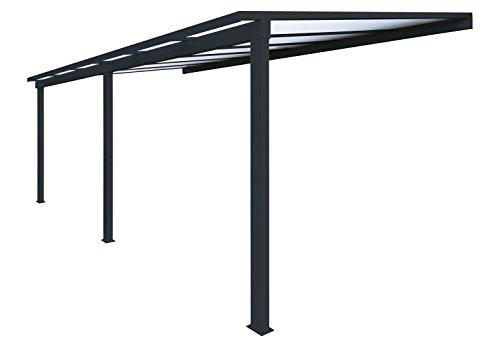 Priximbattable Pergola en Aluminium Classique adossée toiture en Polycarbonate 16 mm avec gouttière - Gris - 6x3m