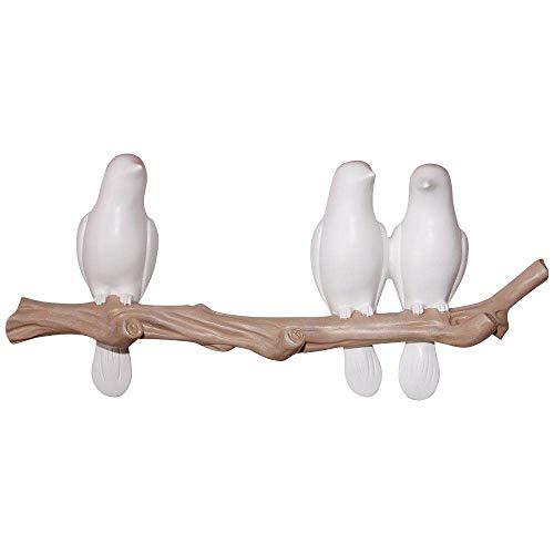 Evibooin Decor Wall Mounted Coat Rack  Birds On Tree Branch Hanger  for Coats Towels HatsKeys Clothes Storage Hanger 3 Hooks