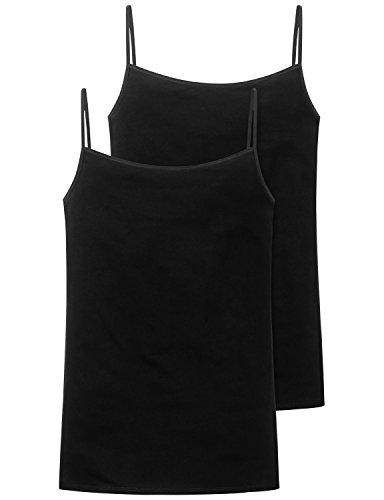 Schiesser Damen Spaghettitop (2er Pack) Unterhemd, Schwarz (schwarz 000), 44
