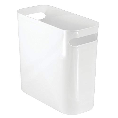 mDesign Slim Plastic Rectangular Small Trash Can Wastebasket, Garbage Container Bin with Handles for Bathroom, Kitchen, Home Office, Dorm, Kids Room - 10' High, Shatter-Resistant - White